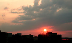 sunset over the watergate complex